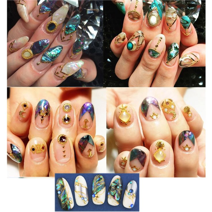9 colors choice Hot popular natural shells Japan style 3d Adhesive shell sticker nail decoration tools YX151