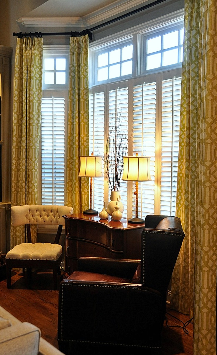 35 best curtains window molding images on pinterest bay - Living room bay window treatments ...