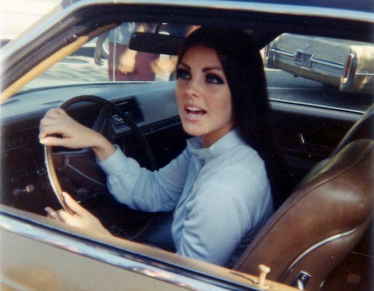 Priscilla Presley, in her Cadillac at age 18, 1964