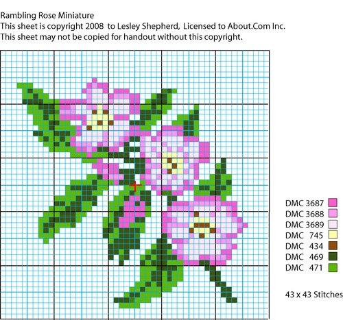 Cross Stitch or Needle Point chart for a miniature or dolls house rambling rose design.