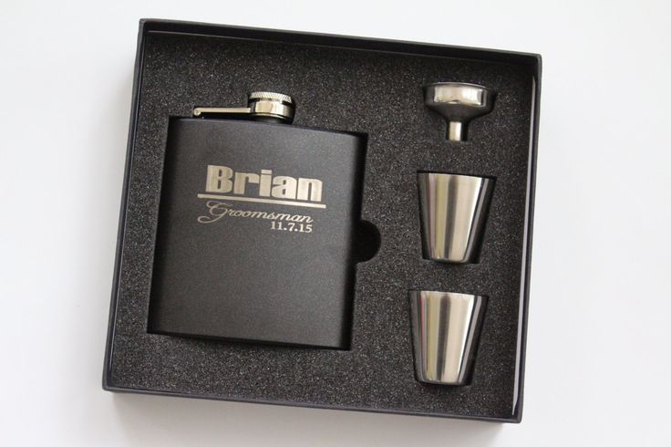 Groomsmen Gift, Flask Gift Set - Personalized Flask, Engraved Flask, black - Wedding Party Flasks - groomsman bridal party by BackRoadsPZ on Etsy