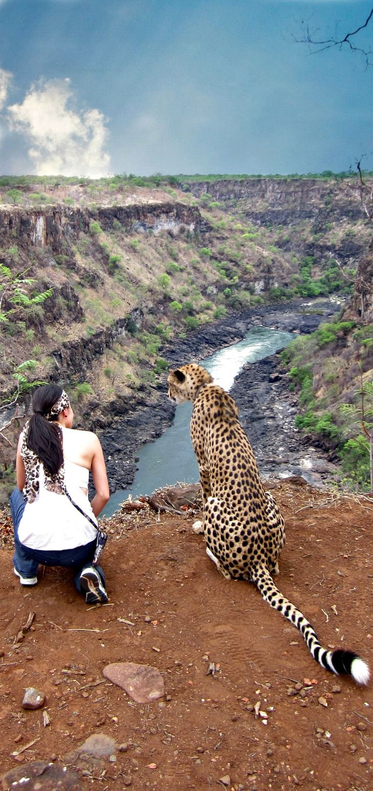 Walking to the edge of the Batoka Gorge (Victoria Falls, Zimbabwe) with Sylvester at The Elephant Camp
