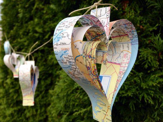 Papier coeur carte Garland-10 ft-Wedding par RootToVine sur Etsy