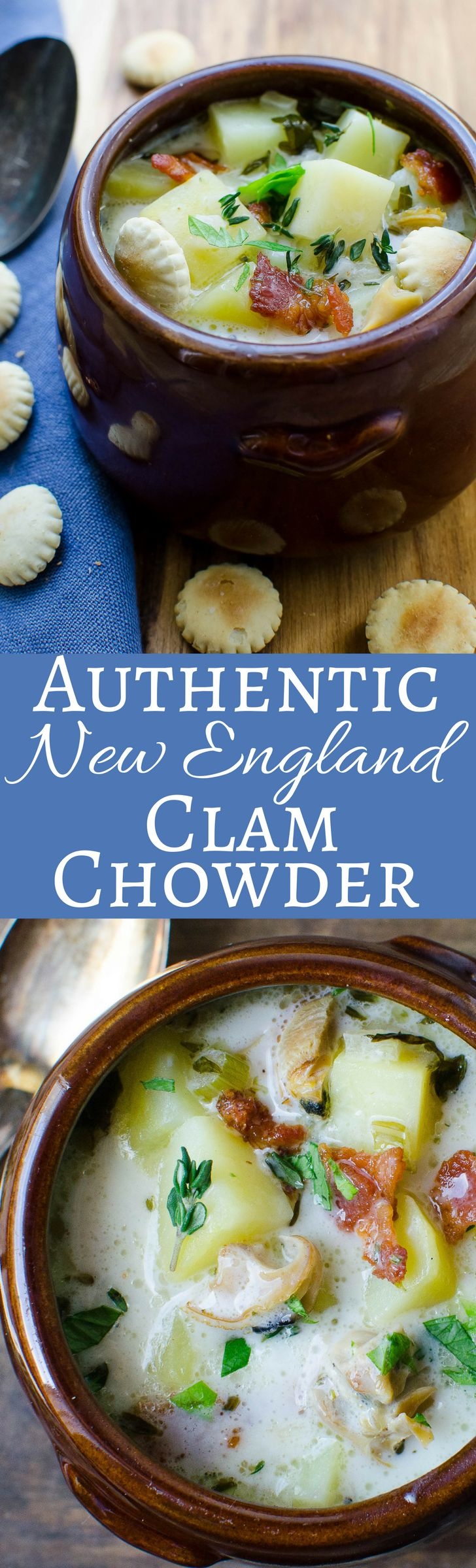 The best recipe for clam chowder, with a creamy, briny broth, fresh chopped clams, tender potatoes and bacon! Easier than you think to make!