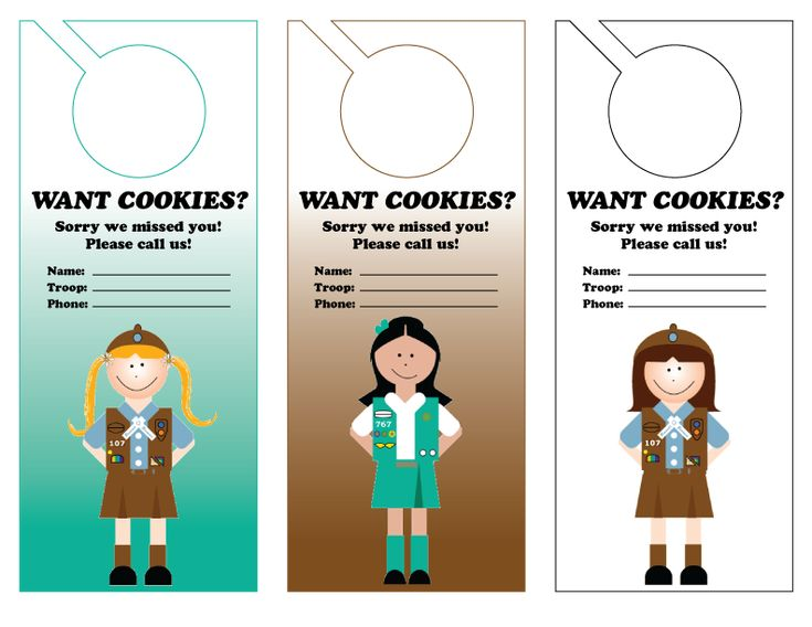 Girl Scout cookie door hanger - great for cookie sales-Be safe! Do not put full names. Maybe just put the phone number of the troop leader or cookie mom. She can ask what first name is on it and pass along the info to that girl for her order sheet.