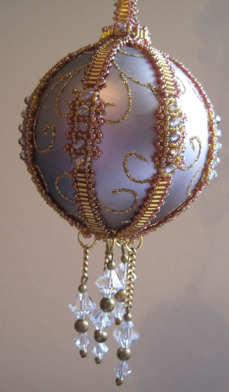 Beading Cover On An Already Decorated Ball! Notice How The Hanger Continues  With The Bands