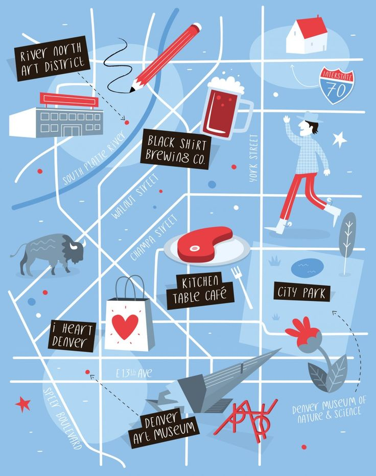 Illustrated map of Denver by Tom Woolley.