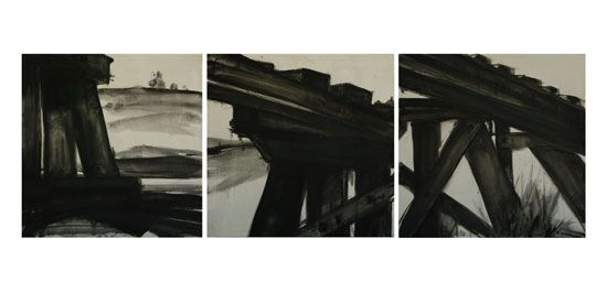 This one is a finalist in the Cowra Regional Gallery Calleen Art Prize 2014. 'Bridge Series'. Oil on calico on board. Something a little different for me! Mono!
