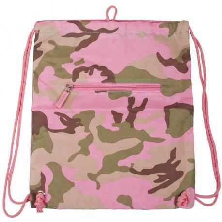 Drawstring Backpack Pink Camouflage