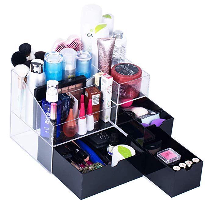 Newslly Large Acrylic Makeup Organizer 3 Black Drawers Cosmetic