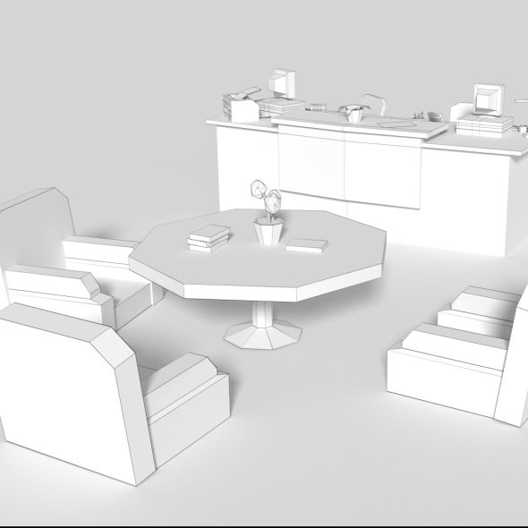 Office Receptiondesign: Low Poly Cartoony Office Reception #Cartoony, #Poly