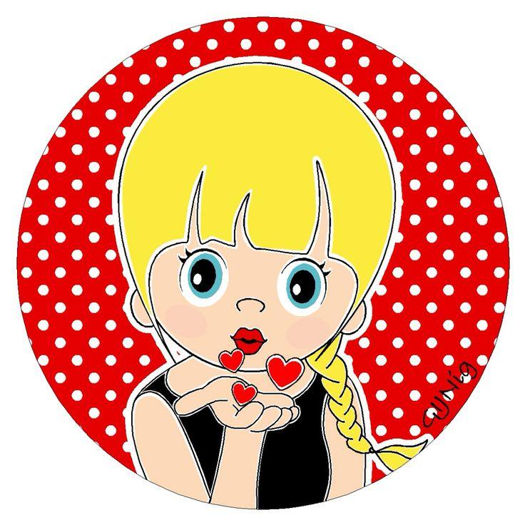 Handkus met hartjes #illustratie #blond #meisje #lief #vlecht #wonen #interieur  www.facebook.com/gijnig