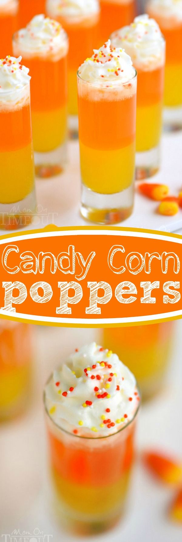 These Candy Corn Poppers are the perfect sweet drink for kids of all ages! This layered drink is impressive and EASY! #ShareTheJoy #ad