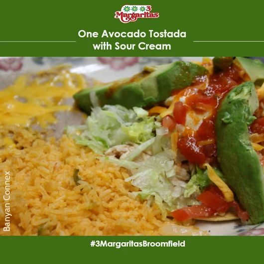 We have great combination plates that you will surely enjoy. This Avocado Tostada with Sour Cream for starters. Check out the rest of the combinations here: http://3margsbroomfield.com/menu/dinner/combination-plates/