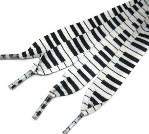 Black and white piano key shoelaces