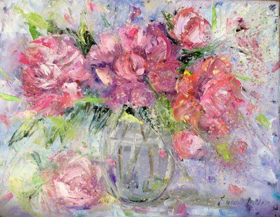 Original pintura al óleo flores de peonías rosas y blancas  Se realiza pintura sobre lienzo  11 x 14  caras pintadas  listo para colgar, no hay marco necesario  Firmado por mi  Se trata de una pintura original, no una impresión