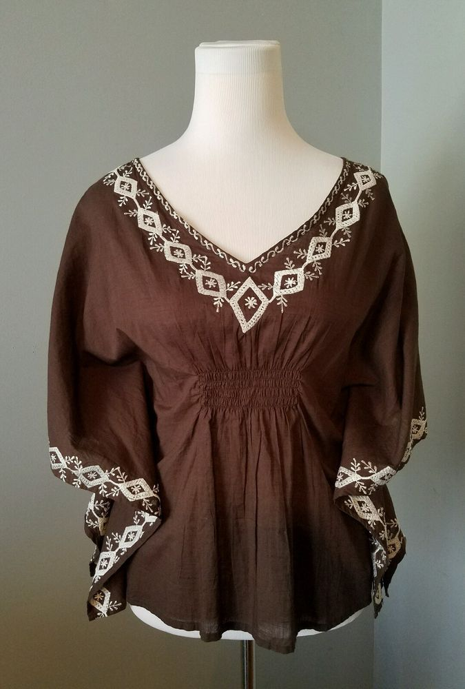 PrAna Women's size Small brown Blouse Designer white embroidery Beach shirt #prAna #Blouse