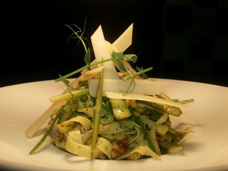 Tagliatele home made with asparagus,nuts, basil,parmesan