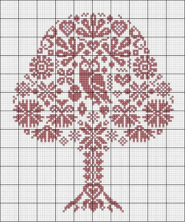 Búho en árbol punto de cruz.......
