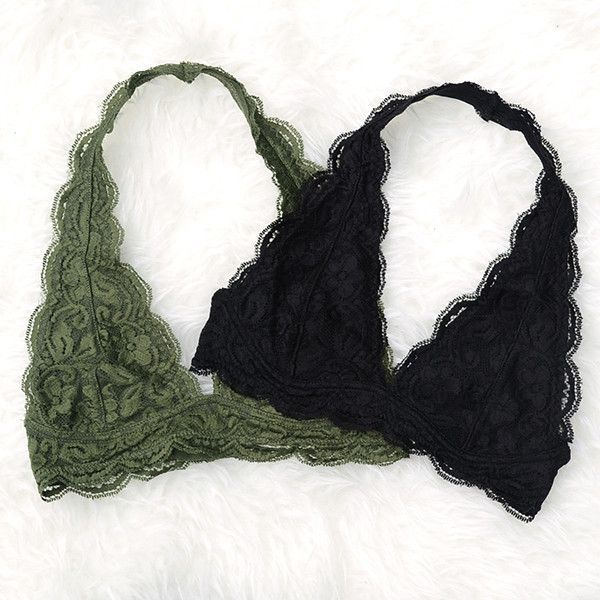 Sweet stretchy lace halter bras in five different colors. Scalloped detailing around the edges and an adjustable double hook and eye closure in the back. Comfy elastic strap around the neck. - 85% Nyl