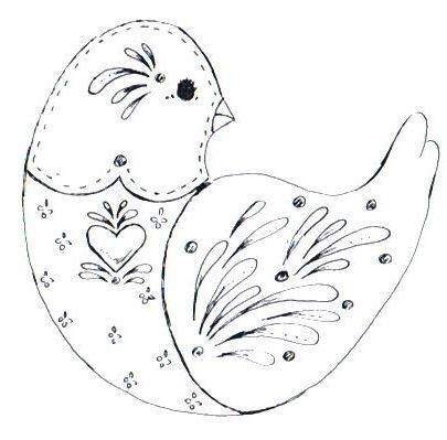 Cottage Crafts: 8 Free Folk Art Bird patterns - some lovely patterns for practicing those Folk it skills. www.folkit.co
