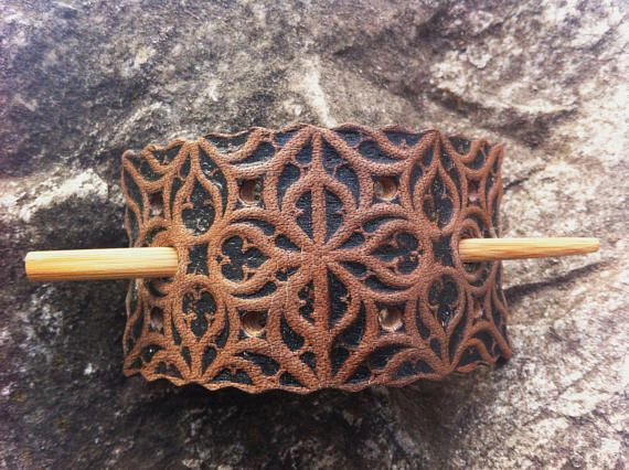Tooled leather hair barrette