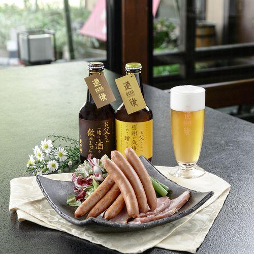 良質のモルトを贅沢に使った日本最古の歴史を誇る名湯道後温泉のクラフトビール「道後ビール」のお父様への感謝の気持ちを伝えるメッセージ入りボトルと、原料肉は冷凍肉を使用せず、愛媛県産の新鮮な上質の豚肉を使用して造り上げた「城川自然牧場の手作りウィンナー・ベーコン」の「父の日限定」オリジナルセットです。
