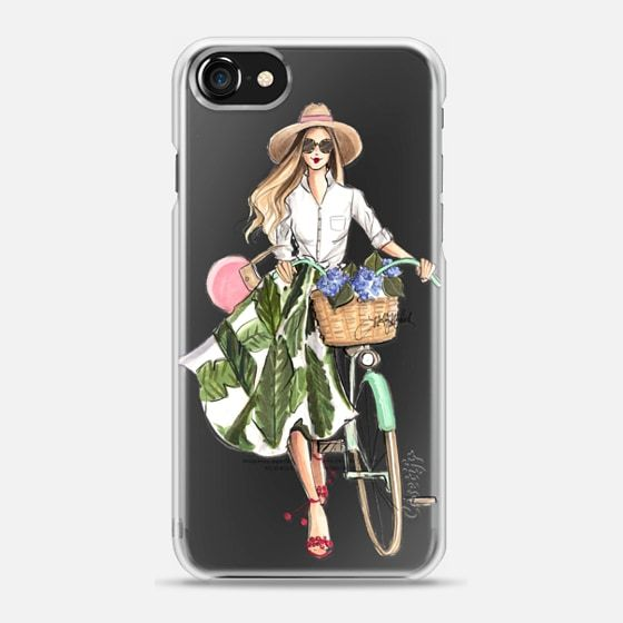 Hydrangea Hunt (Girl with Bike Fashion Illustration Transparent Case) - Snap Case