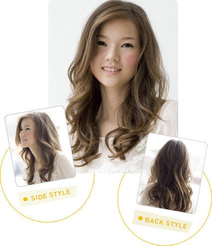 long, wavy hair with side part