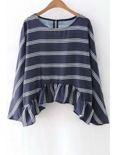 Striped Flounce Ruffles Round Neck Long Sleeve Blouse PURPLISH BLUE: Blouses | ZAFUL
