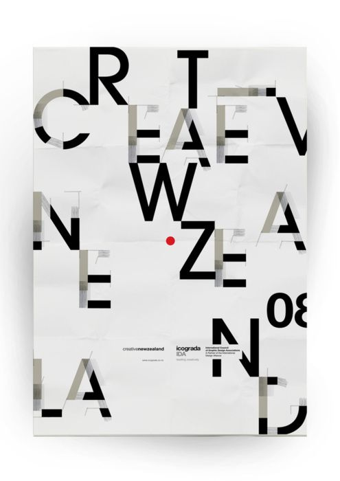 """This isn't strictly Editorial Design, but Typography IS a huge part of Editorial Design. its surprising how easy it is to read """"Creative New Zealand"""". Great composition. Merge on Typography Served"""