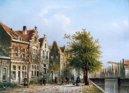 Johannes Franciscus Spohler (Rotterdam 1853-1894 Amsterdam) Canal with quay and drawbridge - Dutch Art Gallery Simonis and Buunk Ede, Netherlands.