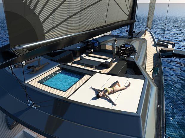 McLaren UltraLuxum CXL Yacht. Trimaran superyacht including Garage!