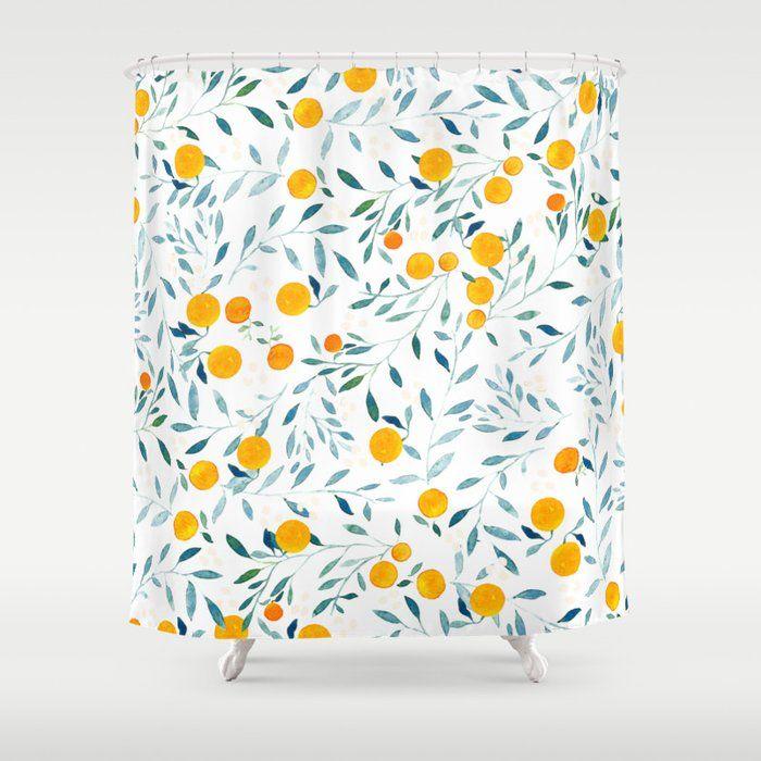 Buy Orange Tree Shower Curtain By Artiisan Worldwide Shipping