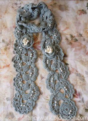 My Fancywork Blog: Шарф цвета мяты связанный крючком и декорированный...
