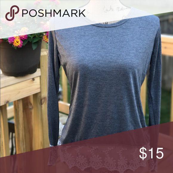 Grey top Long sleeved,grey top with lace hem Tops Tees - Long Sleeve