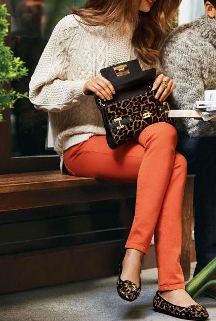 Cable knit sweater, bright pants and animal print
