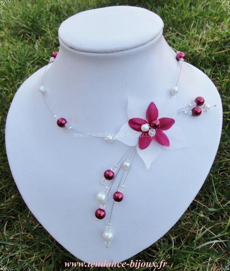 collier mariée mariage soirée perles et fleur de soie ivoire et bordeaux crystal