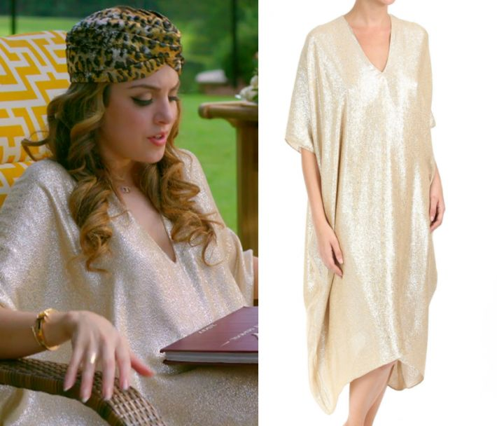 """1x04 by Kirsty0 Comments Fallon Carrington (Elizabeth Gillies) wears this v neck batwin metallic gold dress in this episode of Dynasty, """"Company Slut"""". It is the Marie France Van Damme Bright Boubou Dress. Buy it HERE for 0.00 Worn with: Gucci Turban, Tura Sunglasses"""