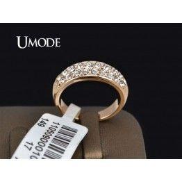 UMODE Classic Rose Gold Color Rhinestones Studded Women's Wedding Engagement Ring