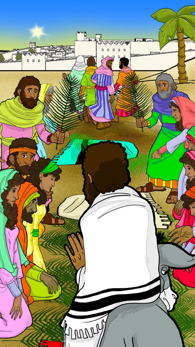 """The disciples went and did as Yeshua (Jesus) had directed them. They brought the donkey and the colt and put their robes on them, and Yeshua sat on them. Crowds of people carpeted the road with their clothing, while others cut branches from trees and spread them on the road. The crowds ahead of him and behind shouted, ""Please! Deliver us!"" (Mat 21)"