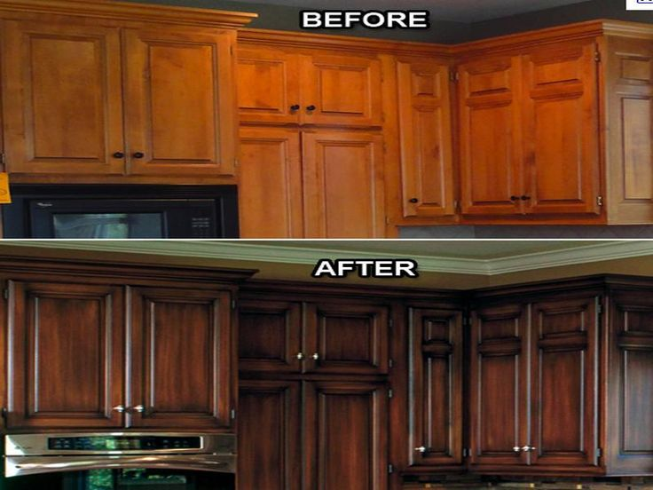 Kitchen cabinet refacing before and after for the home for Refinishing kitchen cabinets before and after