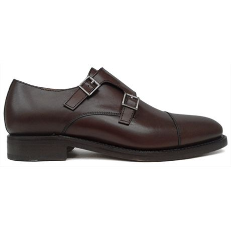 Zapato monkstrap doble hebilla color marrón Berwick 1707 vista lateral