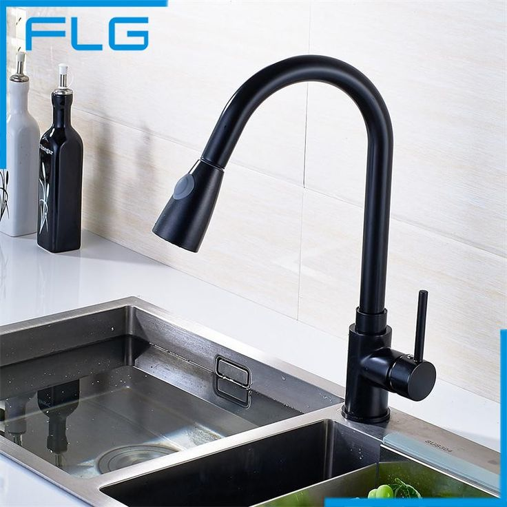 FLG Pull Out Spray 360 Degrees Swivel Spout Black Paint Kitchen Faucet, Sink Mixer Tap
