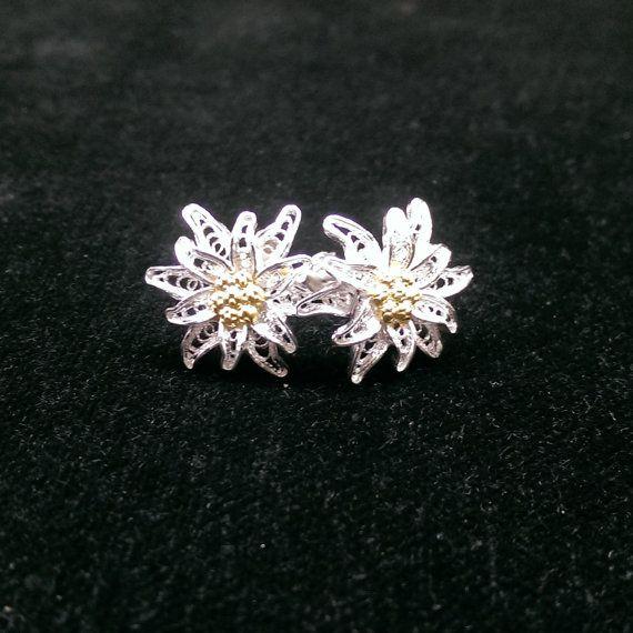 Edelweiss  orecchini in filigrana d'argento di BongeraFiligrana