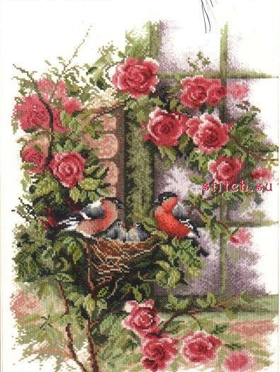 Nesting birds in rambler rose. Снегири и розы. Lanarte. Скачать схему вышивки крестиком