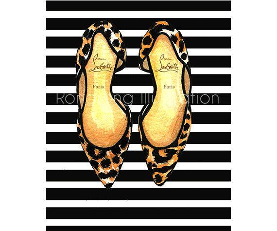 Christian Louboutin art, Leopard shoes art print, Fashion wall art, Fashion watercolor art, Girly wall art, Gift for her, Dressing room art