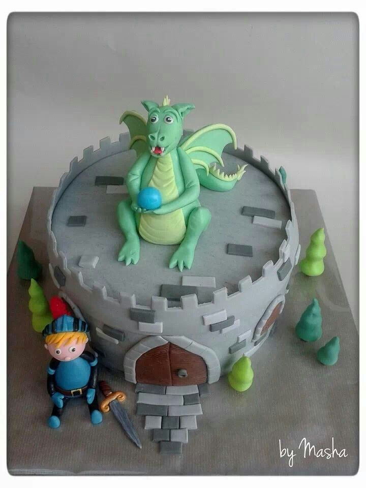 Dragon castle knight boys cake