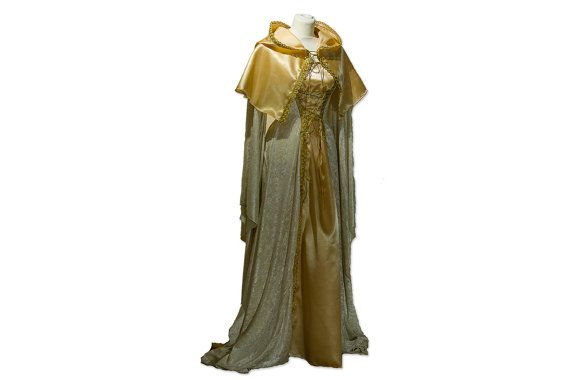 Medieval dress in white and gold, medieval wedding dress, Size XS-M, fairytale wedding dress, hooded medieval dress, Game of Thrones