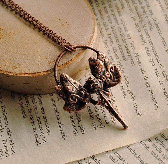 Bird skull necklace raven skull necklace copper bird skull